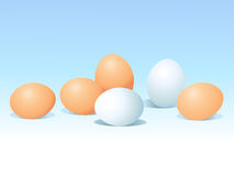 Eggs on blue background Stock Photography