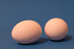 Eggs on Blue Background Royalty Free Stock Photos