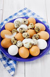 Eggs in a blue ceramic bowl. On a white wooden table Stock Images