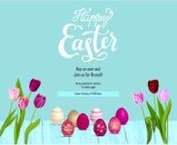 Eggs Blue Easter card stock illustration