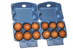 Eggs in blue packaging Stock Images