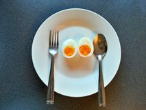 Eggs boiled in the dish, Diet food, clean food Stock Photo