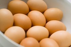 Eggs in bowl Stock Photo