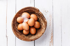 Eggs in bowl Stock Image