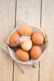 Eggs in a bowl. Brown green eggs with feathers on a handmade plate on wood stock image
