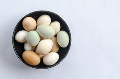 Eggs on a bowl royalty free stock photo