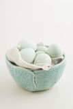 Eggs in a bowl. Fresh light green eggs from Easter egger chicken in a light blue bowl Stock Images