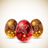 Eggs with bows Stock Image