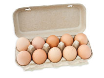 Eggs in box. On white Stock Images