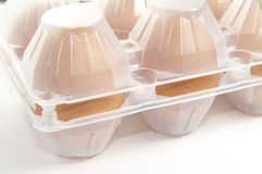 Eggs in box. On a white background Royalty Free Stock Image