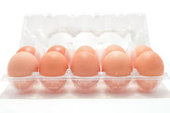 Eggs in the box Stock Images
