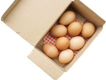 Eggs in box isolate on white (with clipping path) Stock Photo