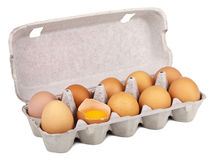 Eggs in box isolated Stock Photos
