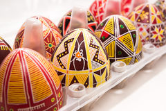 Eggs in box with pattern for Easter holiday Royalty Free Stock Images