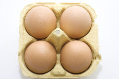 Eggs in a box. Produce sourced from farm. Studio photography Stock Photo