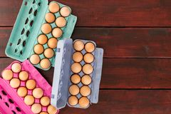 Eggs in boxes from above with copy space royalty free stock images
