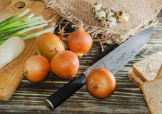 Eggs, bread, cereal and other vegetables on wooden background Royalty Free Stock Images