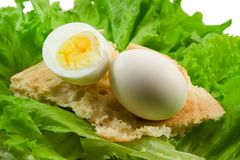Eggs bread salad Stock Photography