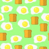 Eggs and Bread Seamless Pattern on Green Background stock illustration