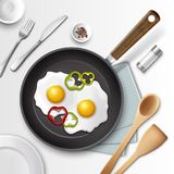 Eggs for breakfast. Vector illustration of fried eggs in a frying pan with bell pepper for breakfast and other utensil, isolated on white background Stock Images
