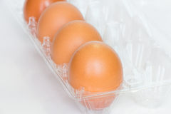 Eggs. Brown eggs in an egg box Royalty Free Stock Photos