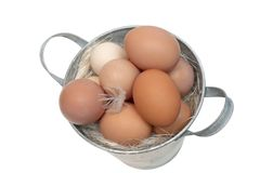 Eggs in a bucket Royalty Free Stock Image