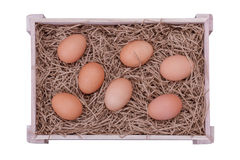 Eggs. Bunch of Fresh Brown Eggs and Some Straw in a Wooden Crate Isolated on a White Background royalty free stock image