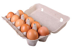 Eggs in cardboard box Royalty Free Stock Photography