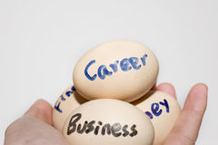 Eggs with carrer word in a mankind people hand Stock Image