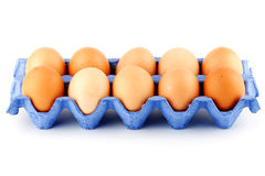 Eggs in carton box Royalty Free Stock Photos