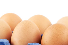 Eggs in carton box. Closeup on the white background Stock Image
