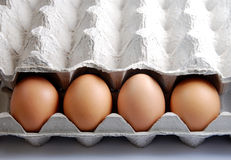 Eggs. 4 eggs in carton box royalty free stock images