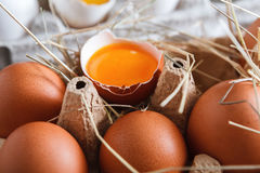 Eggs carton. Healthy food background. Yellow yolk Stock Images
