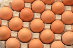 Eggs in a carton closeup view Stock Photo