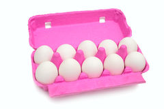Eggs in carton container. Stock Photos