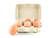 Eggs in Carton isolate on white with clipping path. Eggs in Carton isolate on white Stock Image