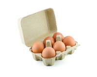 Eggs in Carton isolate on white with clipping path Stock Photo