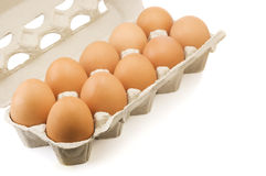 Eggs in carton isolated Royalty Free Stock Photos