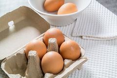Eggs in a carton package Royalty Free Stock Images