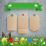 Eggs 3 Carton Price Stickers Ribbon Concrete Grass Royalty Free Stock Images