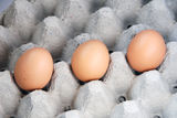 Eggs. 3 eggs on carton tray stock photos
