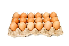 Eggs in the cassette box Stock Photos