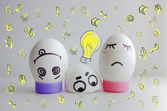 Eggs cheerful with a face jumped out crashed Stock Photography