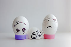 Eggs cheerful with a face jumped out crashed Royalty Free Stock Photos
