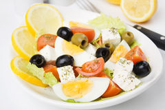 Eggs and cheese salad Stock Images