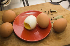 Eggs with chilli peppers for salad Stock Image