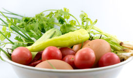 Eggs , chilli , vegetable, vegetable zucchini,Tablets colored Stock Image