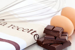Eggs and chocolate for baking Stock Images