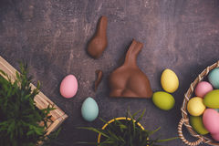 Eggs chocolate diet on easter Royalty Free Stock Images