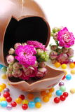 Eggs of chocolate with flowers Stock Photo
